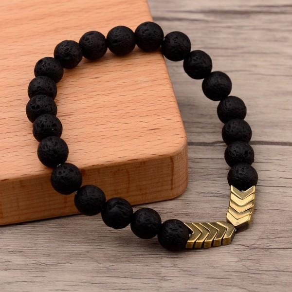 Lava Stein Chakra-Armband für Ätherische Öle, 8 mm Lava Armband, für Männer und Frauen, Stressabbau,