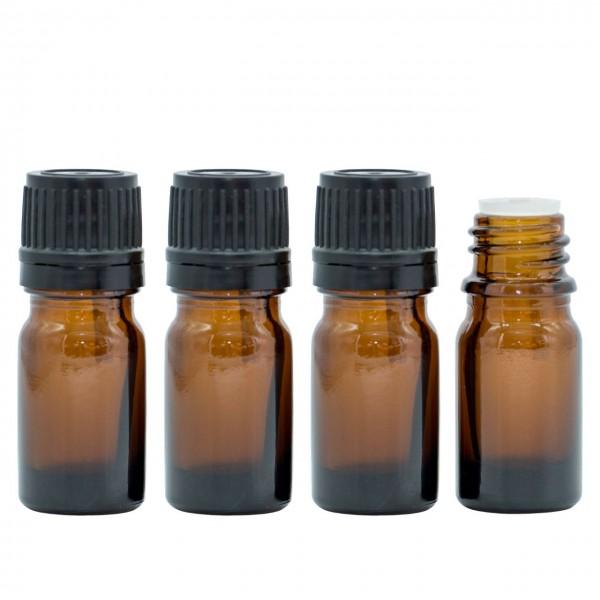 10 ml Tropfflasche / Tropfeinsatz Braun Glas Ätherische Öle Set 4er