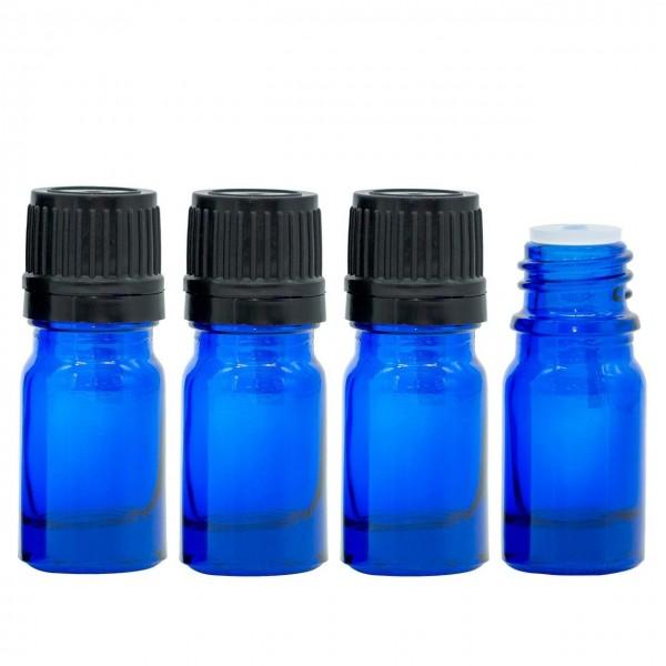 5 ml Tropfflasche / Tropfeinsatz Blau Glas Ätherische Öle Set 4er