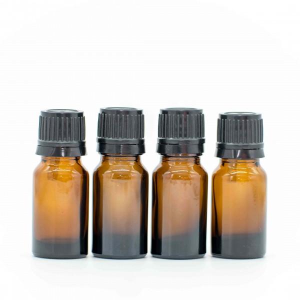 5 ml Tropfflasche / Tropfeinsatz Braun Glas Ätherische Öle Set 4er