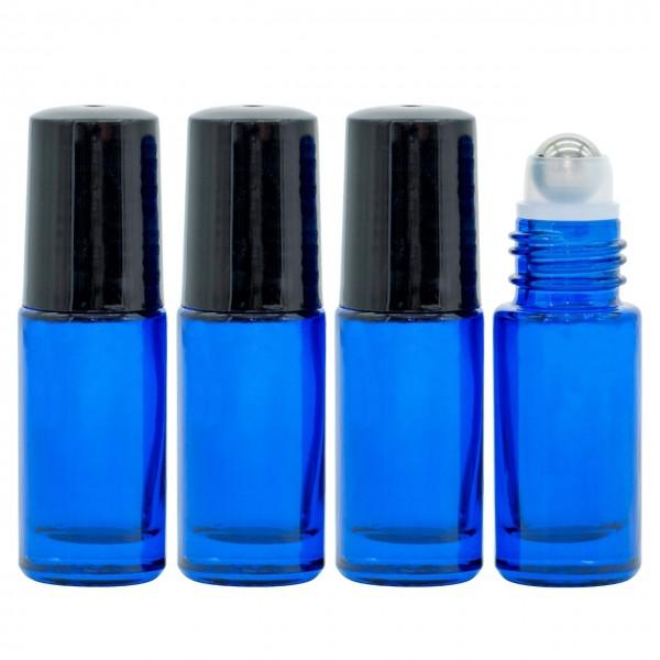 5 ml Roll On Flasche Blau Glas Ätherische Öle Set 4er