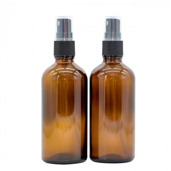 100 ml Sprühflasche / Sprühkopf Braun Glas Ätherische Öle Set 2er