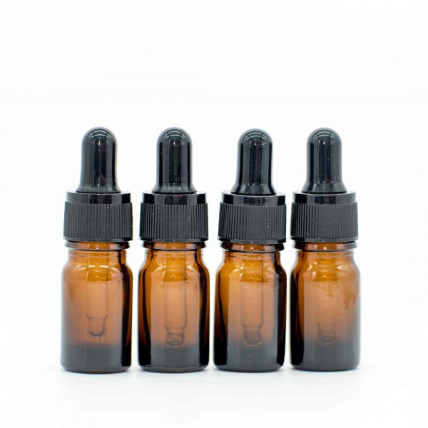 5 ml Pipettenflasche / Pipette Braun Glas Ätherische Öle Set 4er