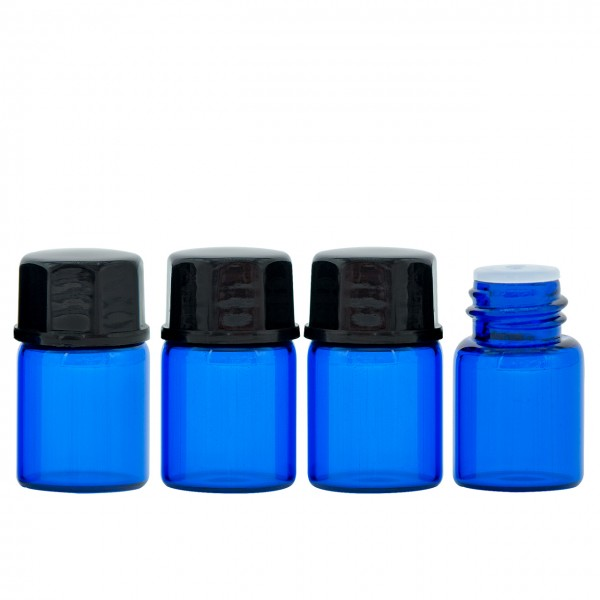 2 ml Tropfflasche / Tropfeinsatz Blau Glas Ätherische Öle Set 4er
