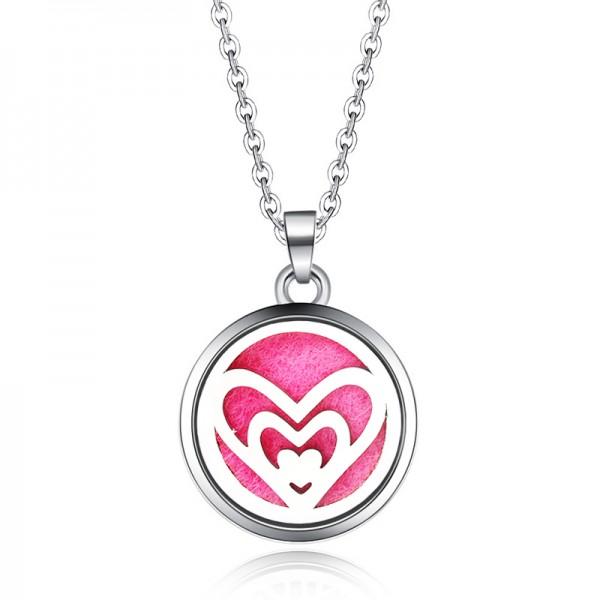 Halskette Herzen Groß 2 für Ätherische Öle, Diffuser Halskette Aromatherapie