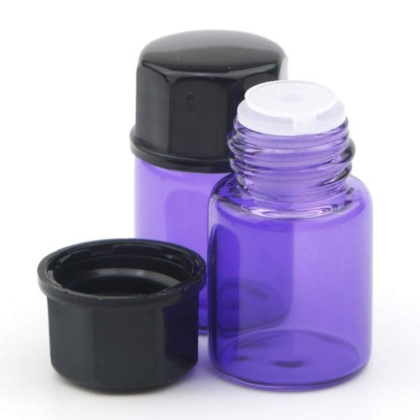 2 ml Tropfflasche / Tropfeinsatz Lila Glas Ätherische Öle